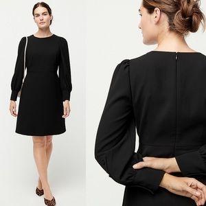 J. Crew Black Long Sleeve Dress In 365 Crepe